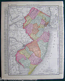 New Jersey State Antique 1898 Graphic Illustration Map Atlas Print - K-townConsignments