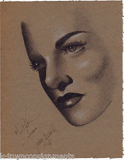 JANE RUSSELL PIN-UP MOVIE ACTRESS ORIGINAL AUTOGRAPH SIGNED PAT ZUCKER SKETCH - K-townConsignments