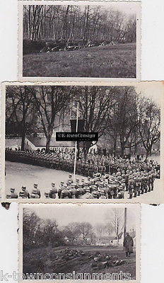 WWII GERMAN UNIFORM SOLDIERS IN COMBAT TRAINING & LARGE PARADE SNAPSHOT PHOTO - K-townConsignments