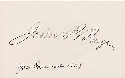 JOHN B. PAGE REPUBLICAN PARTY FOUNDER AUTOGRAPH 1869 - K-townConsignments