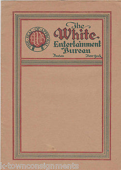 WHITE ENTERTAINMENT BUREAU VINTAGE 1920s MUSIC BAND PROMO AD FLYERS BOSTON, NY - K-townConsignments
