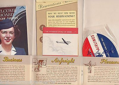AMERICAN AIRLINES VINTAGE GRAPHIC ADVERTISING BOARDING PACKET W/ FLIGHT NOTES - K-townConsignments