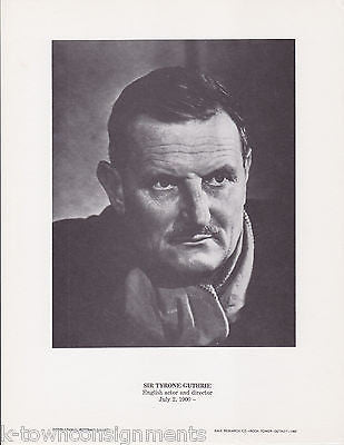 Sir Tyrone Guthrie English Actor Vintage Portrait Gallery Poster Photo Print - K-townConsignments