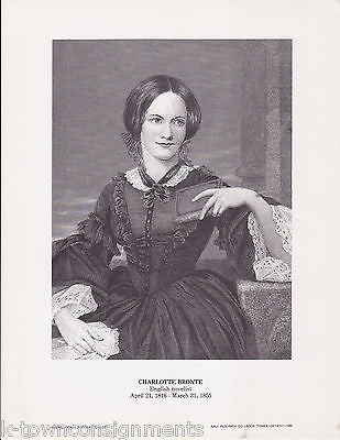 Charlotte Bronte British Novelist Vintage Portrait Gallery Artistic Poster Print - K-townConsignments