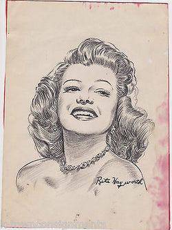 RITA HAYWORTH MOVIE ACTRESS VINTAGE HAND DRAWING BY WWII CARTOONIST JACK BRYAN - K-townConsignments