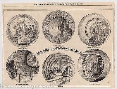 NEW YORK SUBWAY TUNNEL EXPERIMENTAL DESIGN ANTIQUE NEWS ENGRAVING PRINT 1873 - K-townConsignments