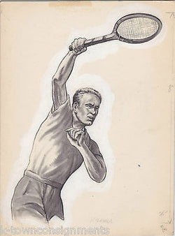 "JACK KRAMER 1940s TENNIS PRO VINAGE ART SKETCH MOCK-UP FOR PRINT AD 8x11"" - K-townConsignments"