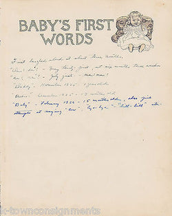Baby's First Words Antique Graphic Illlustration Nursery Print - K-townConsignments