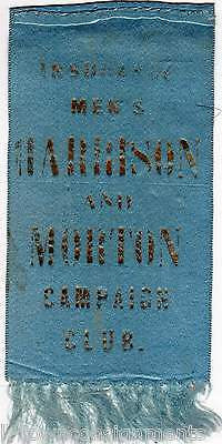 BENJAMIN HARRISON AND MORTON MEN'S CAMPAIGN CLUB ANTIQUE POLITICAL RIBBON - K-townConsignments