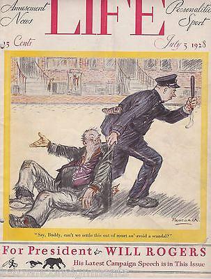 WILL ROGERS PRESIDENT POLICE COVER ART GRAPHIC ILLUSTRATED LIFE MAGAZINE 1928 - K-townConsignments