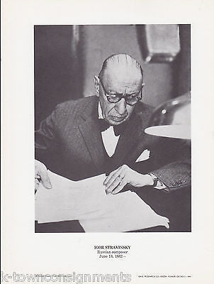 Igor Stravinsky Russian Composer Vintage Portrait Gallery Poster Photo Print - K-townConsignments