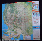 TWA AIRLINES VINTAGE SUPERJET GRAPHIC ADVERTISING FLIGHT MAP TRAVEL BROCHURE - K-townConsignments