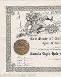 CANADA DRY HOLE-IN-ONE CLUB VINTAGE 1930s GOLFING GRAPHIC ART CERTIFICATE - K-townConsignments
