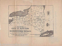 BINGHAMTON PRESS VINTAGE ENGRAVING STATIONERY W/ NEW YORK CONGRESSIONAL MAP - K-townConsignments