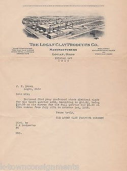 LOGAN CLAY PRODUCTS OHIO BUILDING SUPPLY CO ANTIQUE ENGRAVING ADVERTISING LETTER - K-townConsignments