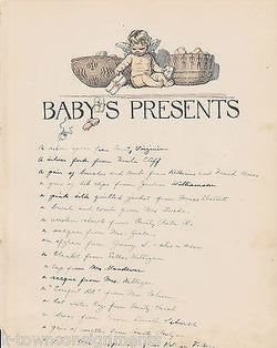 Baby's Presents Cherub & Baby Toys Antique Graphic Illlustration Nursery Print - K-townConsignments