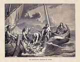 Jesus Christ & Apostles Peter Miraculous Catch 1877 Bible Engraving Print - K-townConsignments