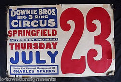 DOWNIE BROS. BIG 3 RING CIRCUS CHARLES SPARKS ANTIQUE 1930s ADVERTISING POSTER - K-townConsignments