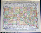 South Dakota State Antique 1898 Graphic Illustration Map Atlas Print - K-townConsignments