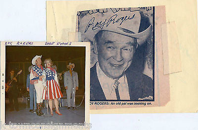 ROY ROGERS COWBOY MOVIE ACTOR CW SINGER AUTOGRAPH SIGNED CLIPPING & STAGE PHOTO - K-townConsignments