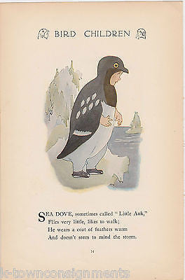 SEA DOVE & EAVE SWALLOW BIRD CHILDREN VINTAGE GRAPHIC ILLUSTRATION POETRY PRINT - K-townConsignments