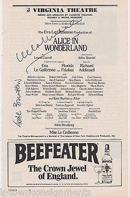 KATE BURTON ALICE IN WONDERLAND ACTRESS AUTOGRAPH SIGNED THEATRE PLAYBILL - K-townConsignments