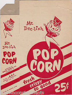 Mr. DEE-LISH POPCORN VINTAGE MOVIE THEATRE GRAPHIC ADVERTISING POPCORN BOX - K-townConsignments