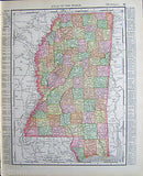 Mississippi State Antique 1898 Graphic Illustration Map Atlas Print - K-townConsignments