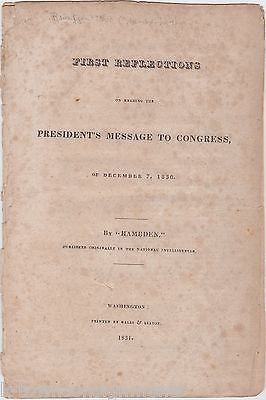 HAMBDEN FIRST REFLECTIONS ON PRESIDENT ANDREW JACKSON MESSAGE TO CONGRESS 1831 - K-townConsignments