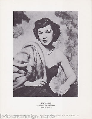 Rise Stevens Mezzo-Soprano Opera Vintage Portrait Gallery Poster Photo Print - K-townConsignments