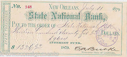 EDWARD BURKE LOUISIANA CRIMINAL THIEF POLITICIAN 1870s AUTOGRAPH SIGNED CHECK - K-townConsignments