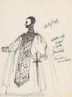HAL GEORGE SIGNED THEATER COSTUME DESIGN DRAWINGS - K-townConsignments