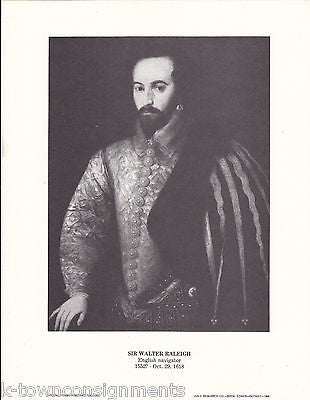 Sir Walter Raleigh English Navigator Vintage Portrait Gallery Poster Print - K-townConsignments