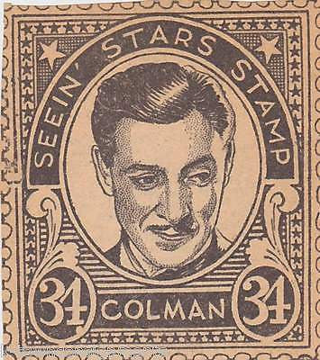 RONALD COLMAN MOVIE ACTOR VINTAGE SEEIN STARS STAMP GRAPHIC PROMO CLIPPING - K-townConsignments
