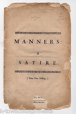 PAUL WHITEHEAD MANNERS A SATIRE CLASSIC ANTIQUE LITERATURE BOOK LONDON 1739 - K-townConsignments