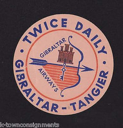 GIBRALTER - TANGIER AIRLINE VINTAGE TWICE DAILY GRAPHIC ADVERTISING DECAL - K-townConsignments