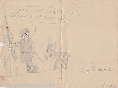 WWII PROPAGANDA ARTIST VINTAGE SIGNED CHILDHOOD MILITARY CARTOON PENCIL DRAWINGS - K-townConsignments