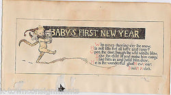 Baby's First New Year Antique Graphic Illlustration Poetry Nursery Print - K-townConsignments