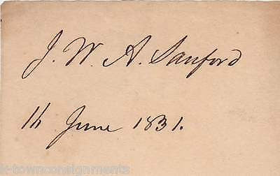 MAJOR GENERAL J.W.A. SANFORD GEORGIA MILITARY INDIAN WARS AUTOGRAPH SIGNATURE - K-townConsignments