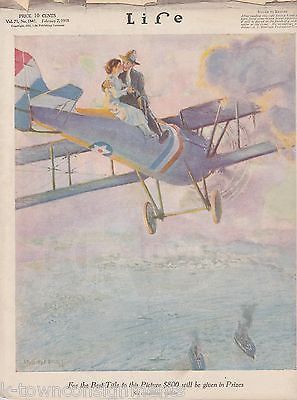 WWI STUNT AVIATION LOVERS COVER ART ANTIQUE GRAPHIC ILLUSTRATED LIFE MAGAZINE - K-townConsignments