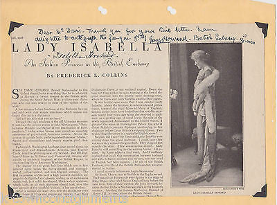 LADY ESME HOWARD BRITISH DIPLOMAT 1920s AUTOGRAPH SIGNED NEWSPAPER ARTICLE 1928 - K-townConsignments