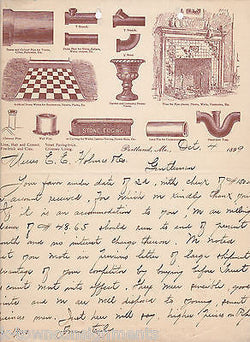 PORTLAND PIPE CO ANTIQUE PLUMBING GRAPHIC ADVERTISING STATIONERY 1899 - K-townConsignments