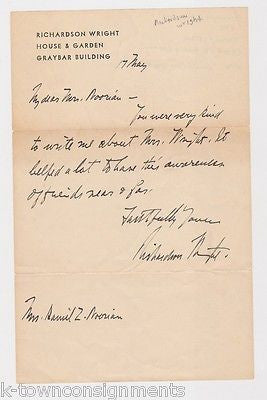 RICHARDSON WRIGHT PHILADELPHIA AUTHOR VINTAGE AUTOGRAPH SIGNED STATIONERY LETTER - K-townConsignments
