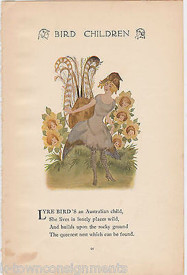 LYRE BIRD LADY FLOWER CHILDREN ANTIQUE GRAPHIC ART ILLUSTRATION POETRY PRINT - K-townConsignments