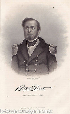ANDREW FOOTE CIVIL WAR FORT HENRY BATTLE REAR ADMIRAL ANTIQUE ENGRAVING PRINT - K-townConsignments