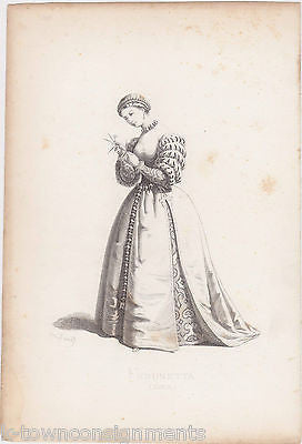 FIORINETTA 1533 THEATER STAGE ACTRESS ANTIQUE ART MAURICE SAND ENGRAVING PRINT - K-townConsignments