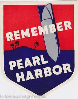REMEMBER PEARL HARBOR VINTAGE WWII MILITARY GRAPHIC ART BOMBER DECAL - K-townConsignments
