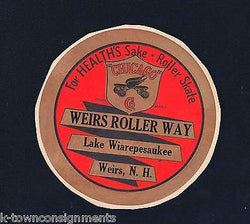 WEIRS ROLLERWAY LAKE WIAREPESAUKEE NH SKATING VINTAGE GRAPHIC ADVERTISING LABEL - K-townConsignments