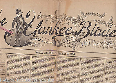 THE YANKEE BLADE BOSTON NEW ENGLAND ANTIQUE NEWSPAPER MARCH 22 1890 - K-townConsignments