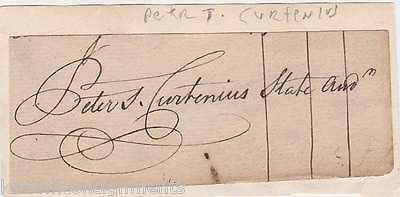 PETER CURTENIUS CONTINENTAL ARMY COLONEL & NY AUDITOR AUTOGRAPH SIGNATURE CLIP - K-townConsignments